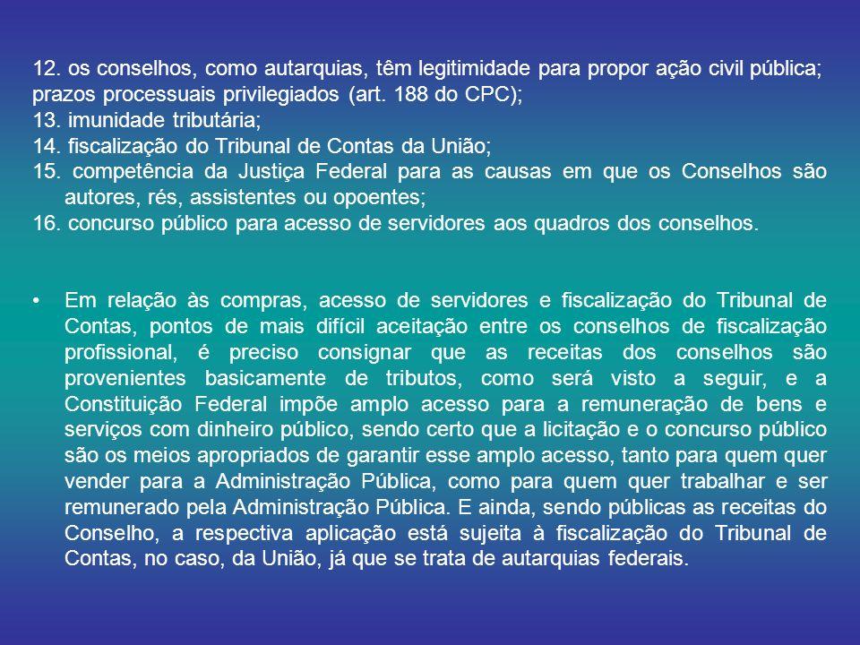 12. os conselhos, como autarquias, têm legitimidade para propor ação civil pública;