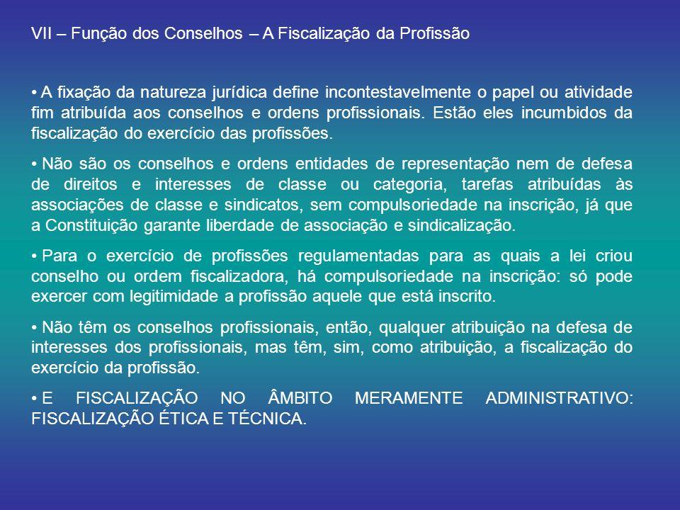 VII – Função dos Conselhos – A Fiscalização da Profissão