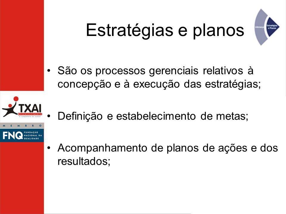 Estratégias e planos São os processos gerenciais relativos à concepção e à execução das estratégias;
