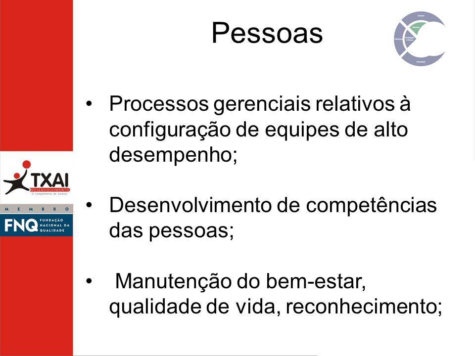 Pessoas Processos gerenciais relativos à configuração de equipes de alto desempenho; Desenvolvimento de competências das pessoas;