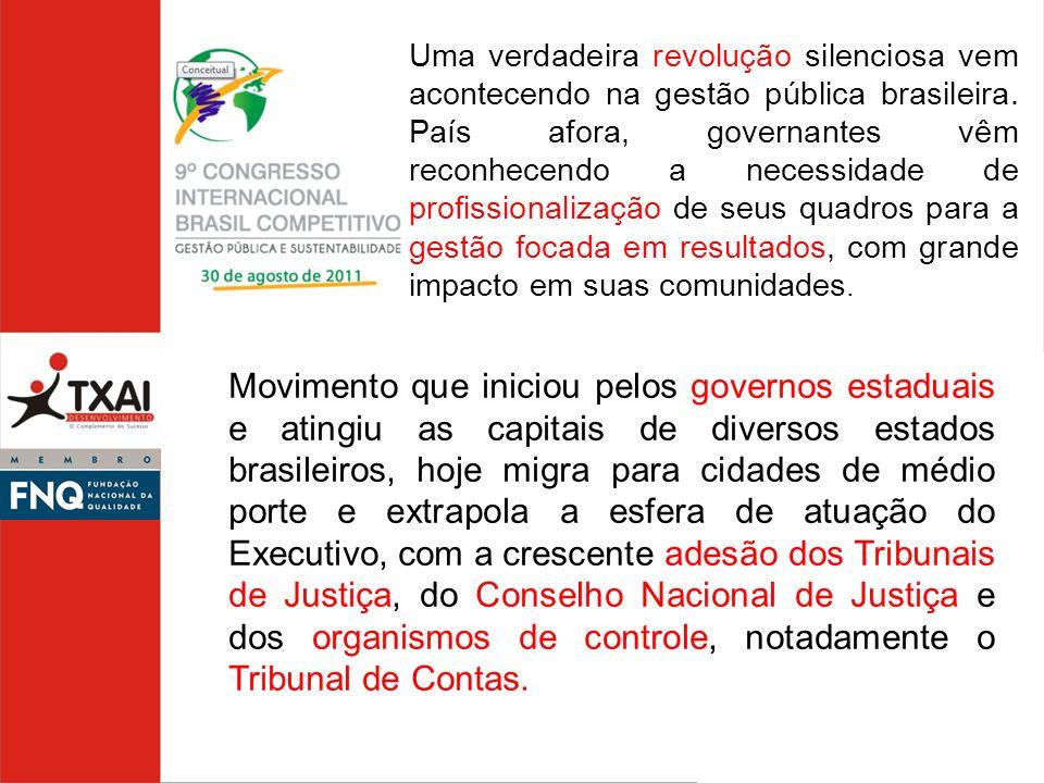 Uma verdadeira revolução silenciosa vem acontecendo na gestão pública brasileira. País afora, governantes vêm reconhecendo a necessidade de profissionalização de seus quadros para a gestão focada em resultados, com grande impacto em suas comunidades.