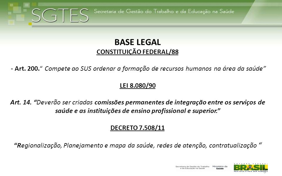BASE LEGAL CONSTITUIÇÃO FEDERAL/88 - Art. 200