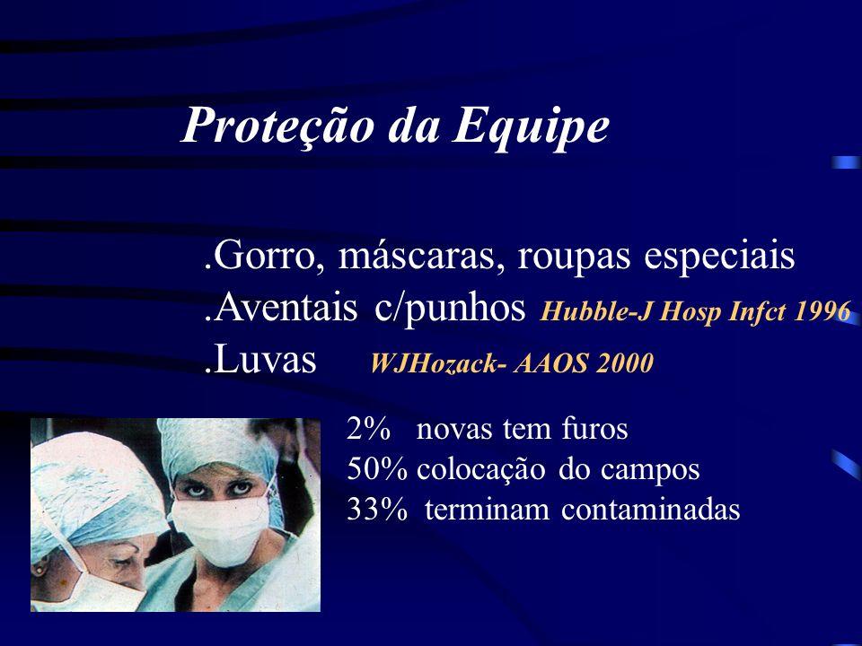 Proteção da Equipe .Gorro, máscaras, roupas especiais