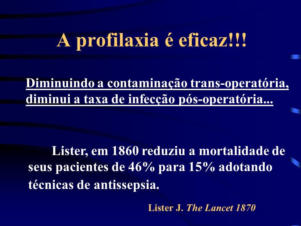 A profilaxia é eficaz!!! Diminuindo a contaminação trans-operatória, diminui a taxa de infecção pós-operatória...