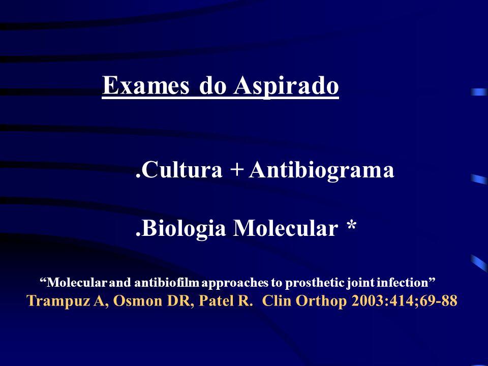 Exames do Aspirado .Cultura + Antibiograma .Biologia Molecular *