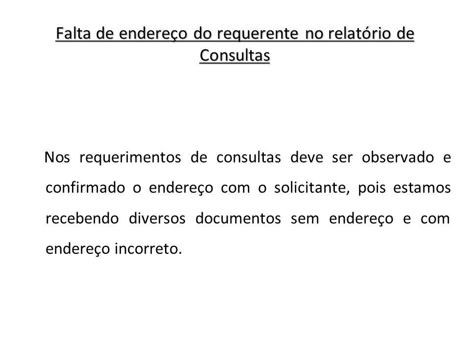 Falta de endereço do requerente no relatório de Consultas