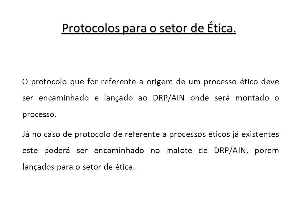 Protocolos para o setor de Ética.