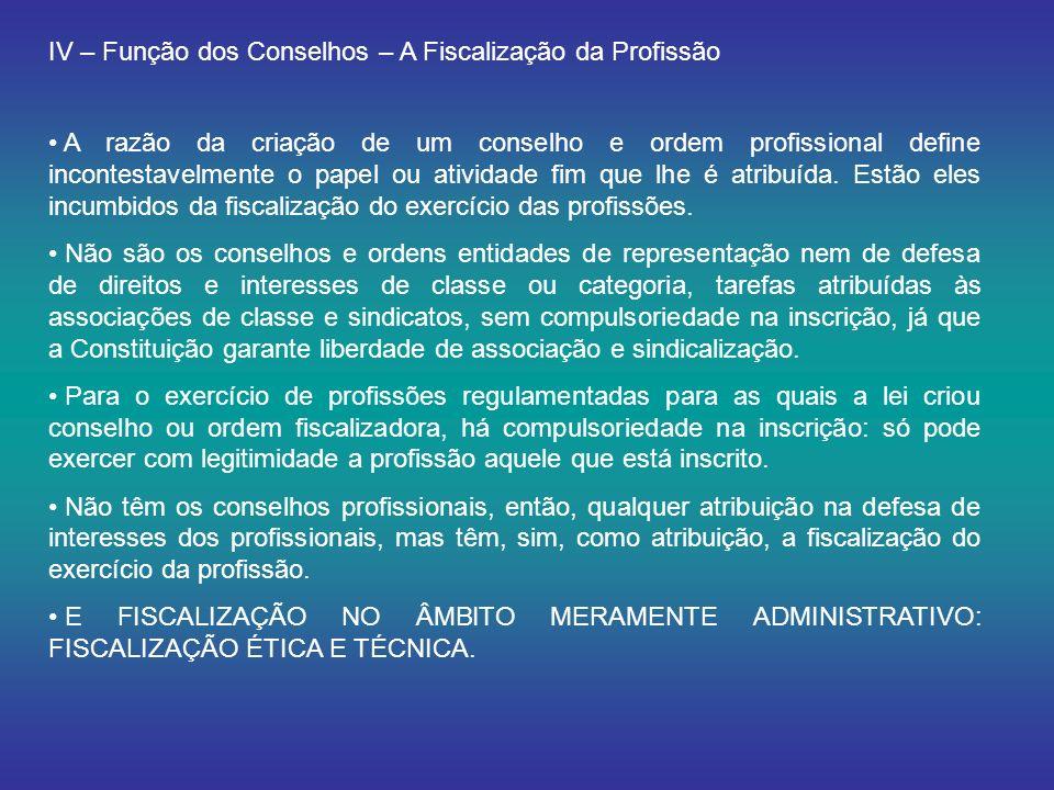 IV – Função dos Conselhos – A Fiscalização da Profissão