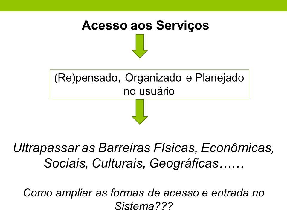 Acesso aos Serviços (Re)pensado, Organizado e Planejado. no usuário.