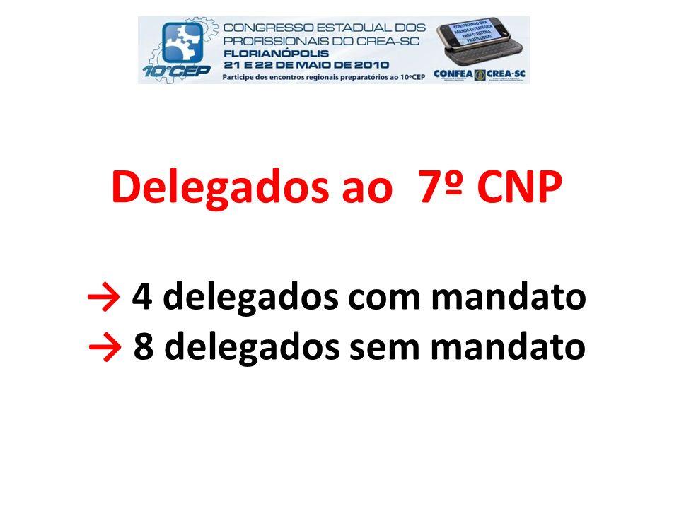 Delegados ao 7º CNP → 4 delegados com mandato → 8 delegados sem mandato