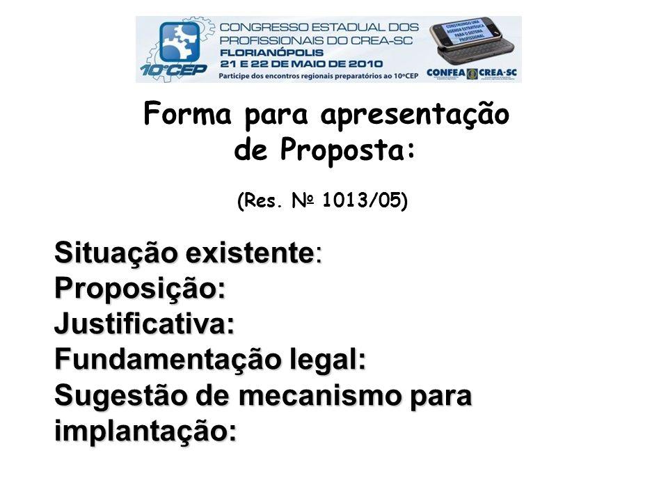 Forma para apresentação de Proposta: (Res
