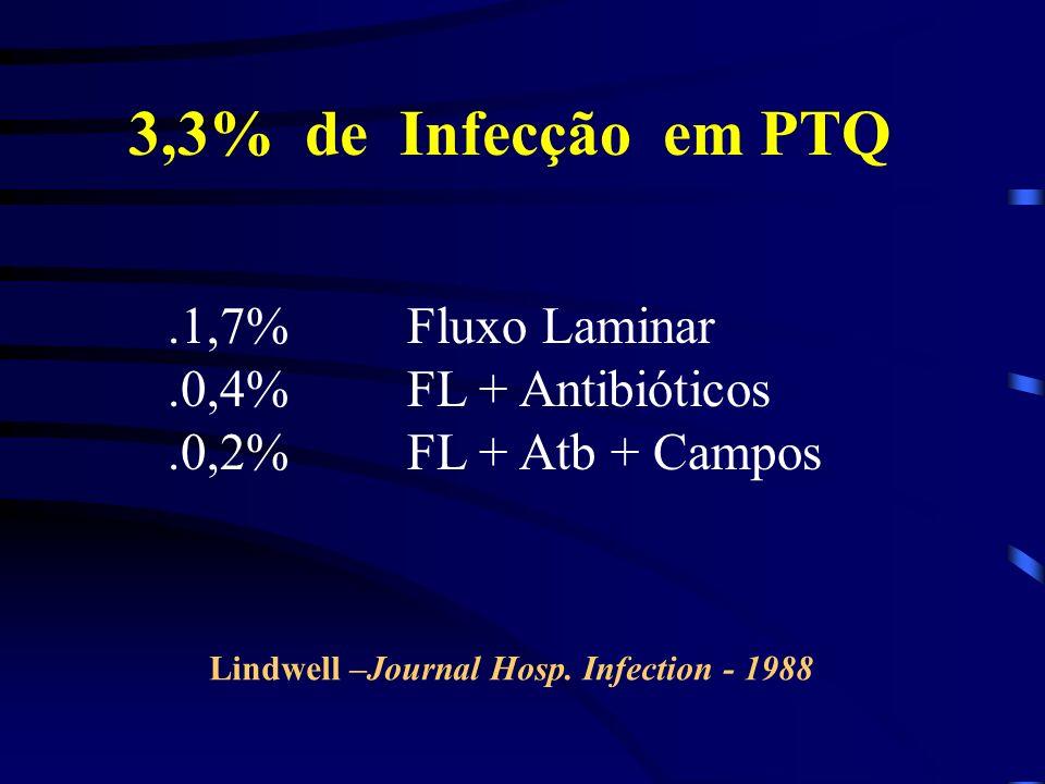 3,3% de Infecção em PTQ .1,7% Fluxo Laminar .0,4% FL + Antibióticos