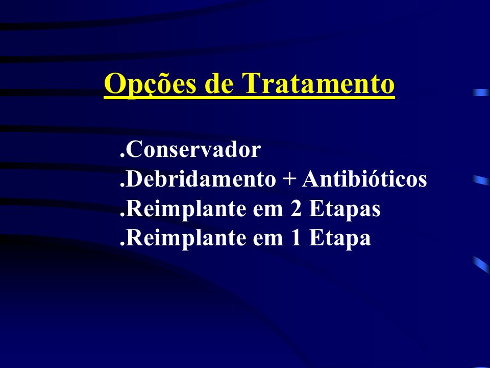 Opções de Tratamento .Conservador .Debridamento + Antibióticos