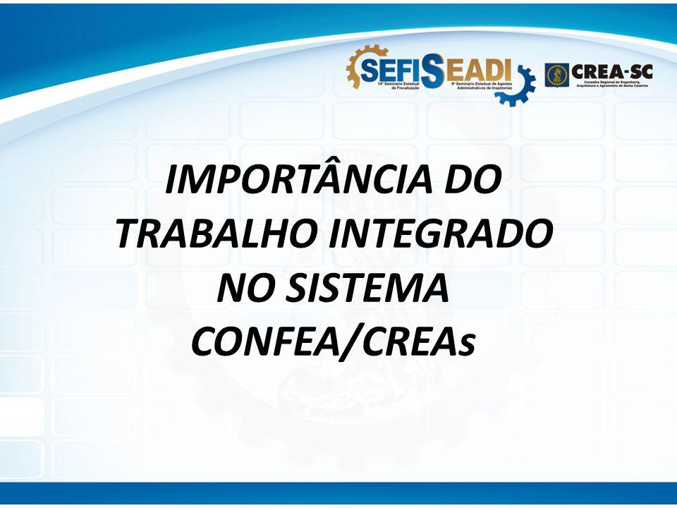 IMPORTÂNCIA DO TRABALHO INTEGRADO NO SISTEMA CONFEA/CREAs