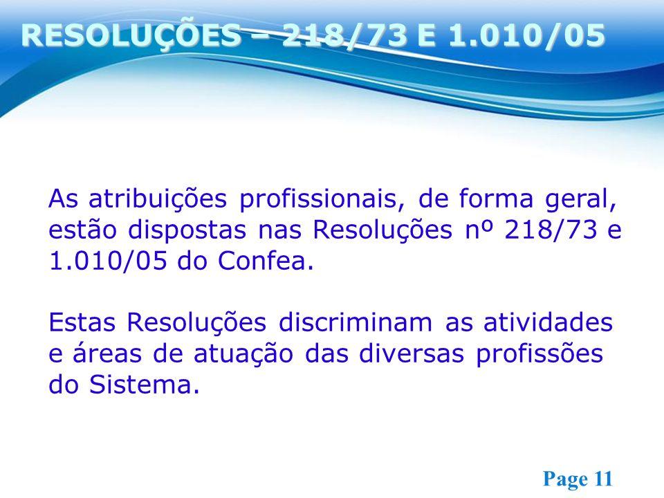 RESOLUÇÕES – 218/73 E 1.010/05