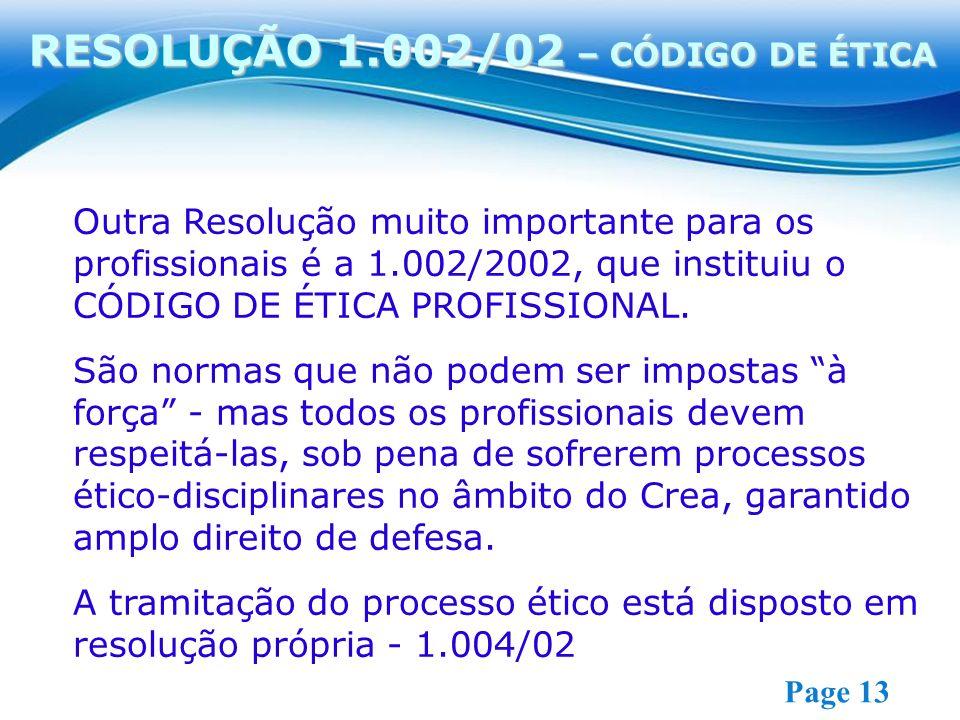 RESOLUÇÃO 1.002/02 – CÓDIGO DE ÉTICA