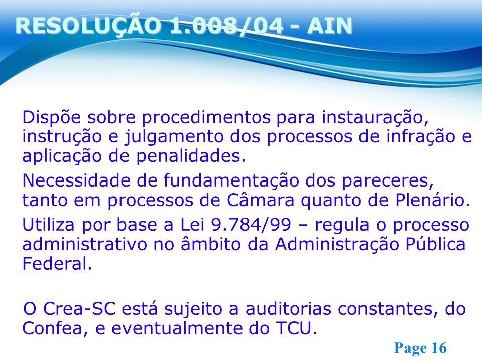 RESOLUÇÃO 1.008/04 - AIN Dispõe sobre procedimentos para instauração, instrução e julgamento dos processos de infração e aplicação de penalidades.