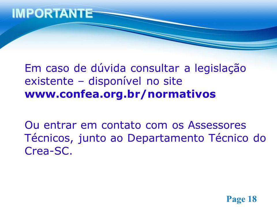IMPORTANTE Em caso de dúvida consultar a legislação existente – disponível no site www.confea.org.br/normativos.