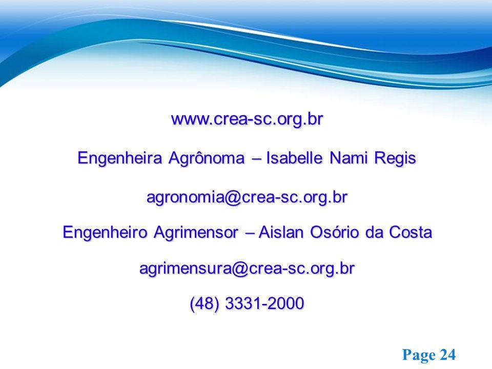 www.crea-sc.org.br Engenheira Agrônoma – Isabelle Nami Regis