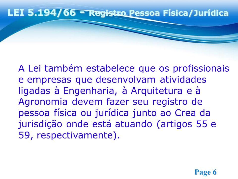 LEI 5.194/66 - Registro Pessoa Física/Jurídica