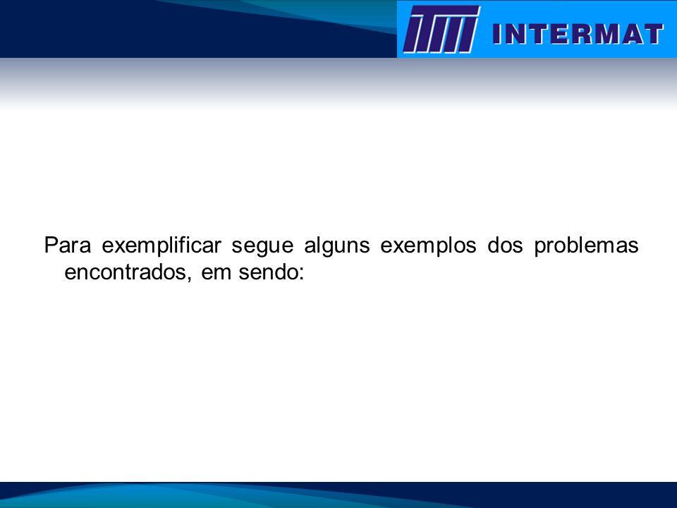 Para exemplificar segue alguns exemplos dos problemas encontrados, em sendo: