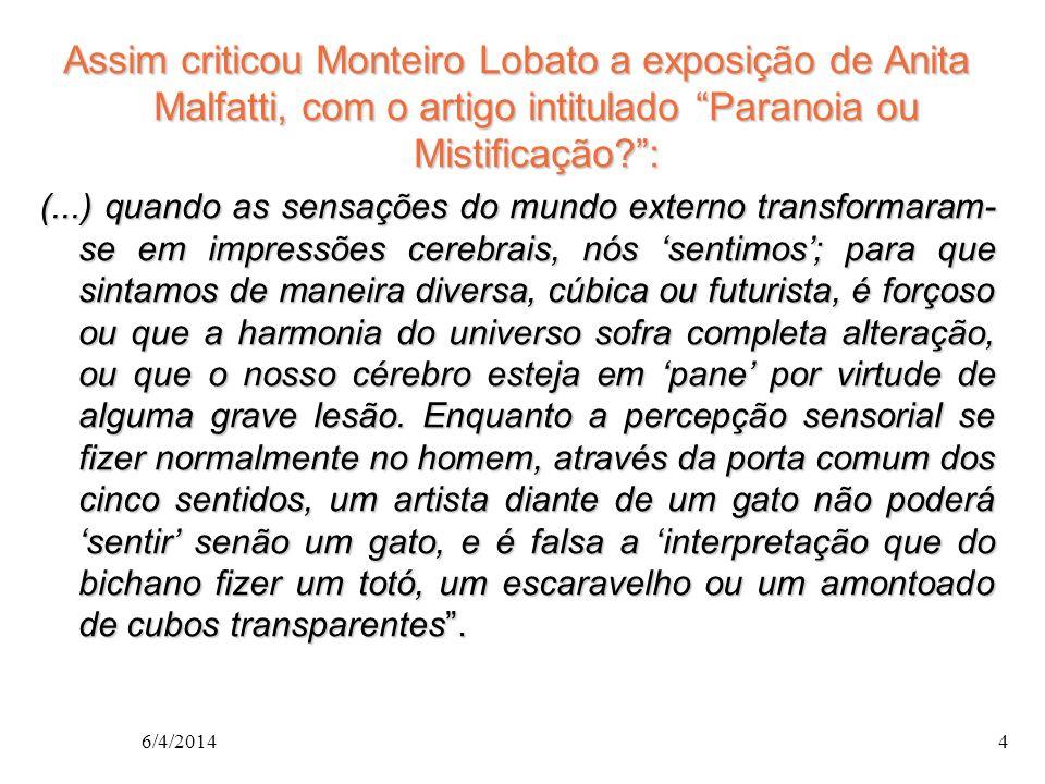 Assim criticou Monteiro Lobato a exposição de Anita Malfatti, com o artigo intitulado Paranoia ou Mistificação :