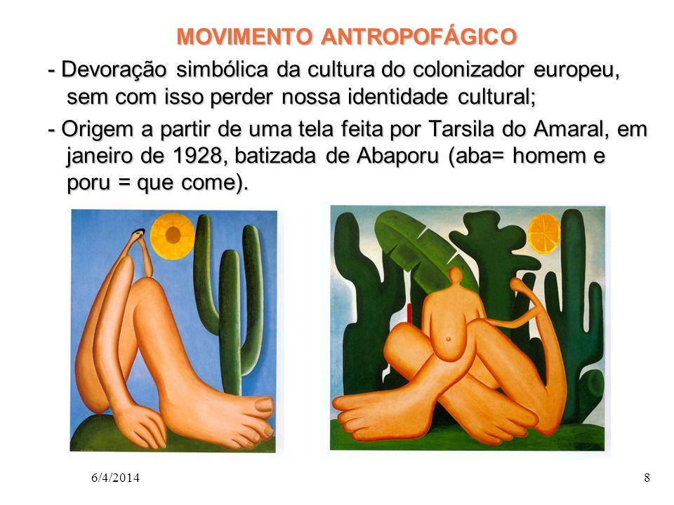 MOVIMENTO ANTROPOFÁGICO - Devoração simbólica da cultura do colonizador europeu, sem com isso perder nossa identidade cultural; - Origem a partir de uma tela feita por Tarsila do Amaral, em janeiro de 1928, batizada de Abaporu (aba= homem e poru = que come).