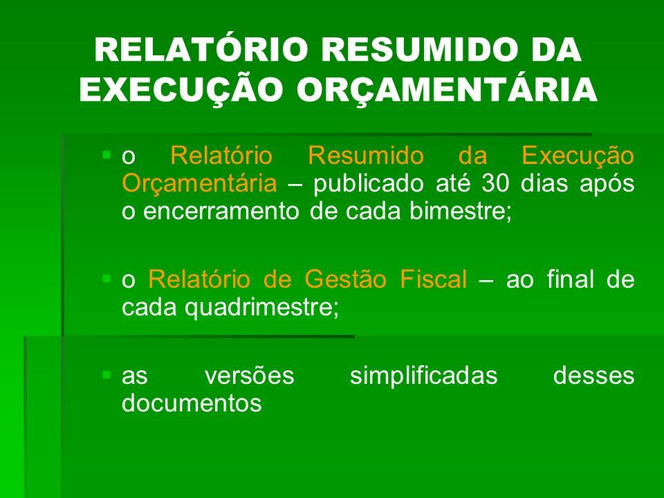 RELATÓRIO RESUMIDO DA EXECUÇÃO ORÇAMENTÁRIA