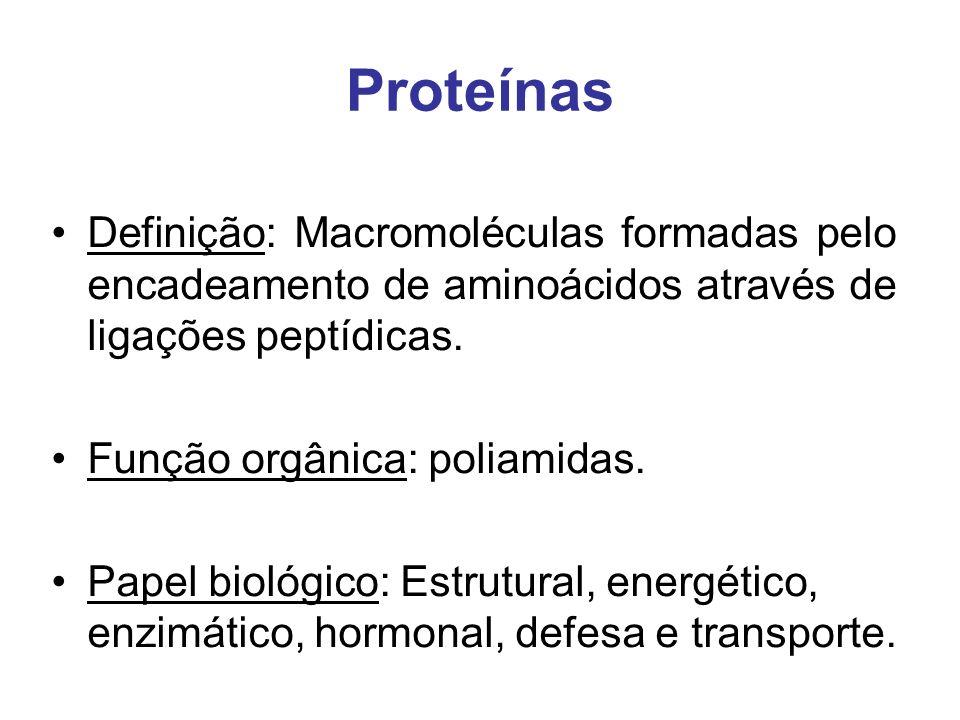 Proteínas Definição: Macromoléculas formadas pelo encadeamento de aminoácidos através de ligações peptídicas.
