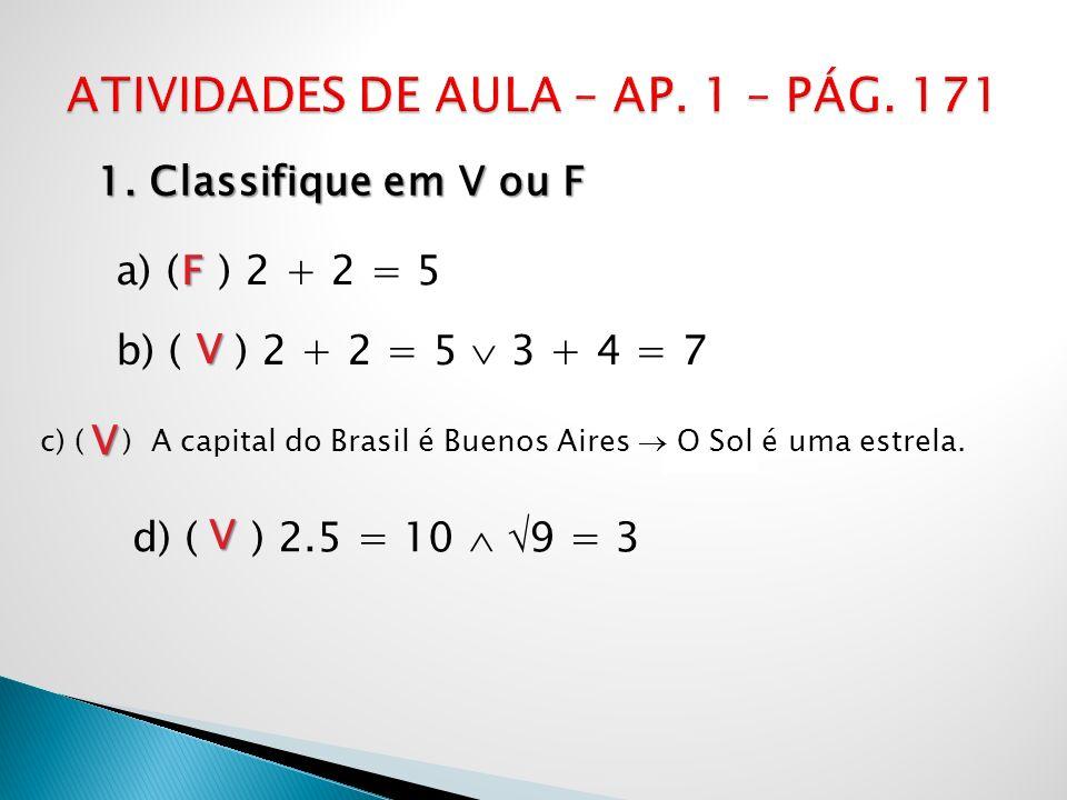 ATIVIDADES DE AULA – AP. 1 – PÁG. 171