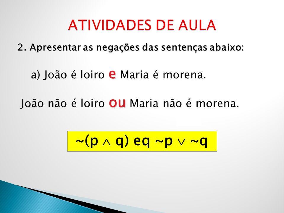 ATIVIDADES DE AULA ~(p  q) eq ~p  ~q