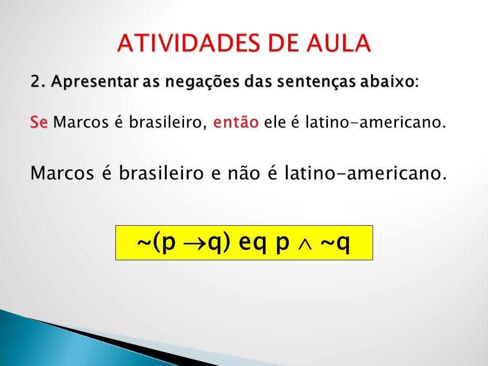 ATIVIDADES DE AULA ~(p q) eq p  ~q