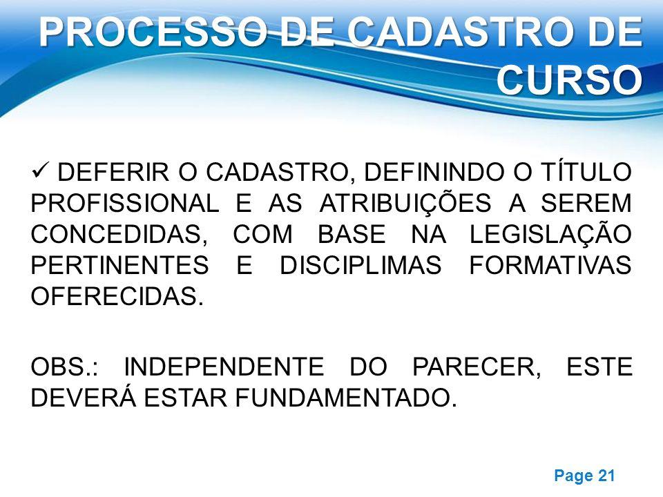 PROCESSO DE CADASTRO DE CURSO