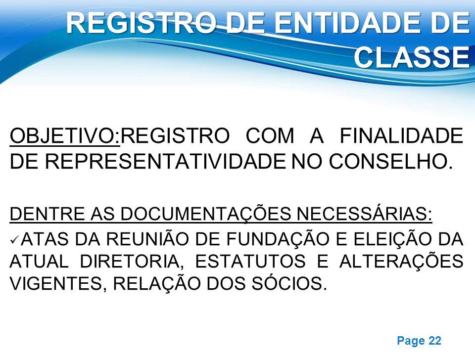 REGISTRO DE ENTIDADE DE CLASSE