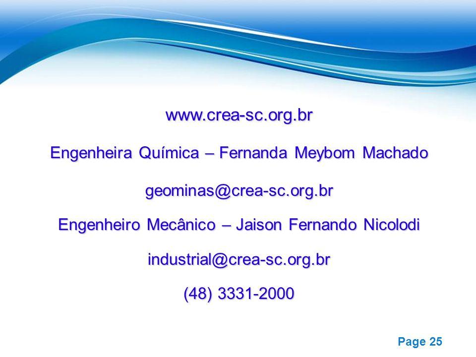 www.crea-sc.org.br Engenheira Química – Fernanda Meybom Machado