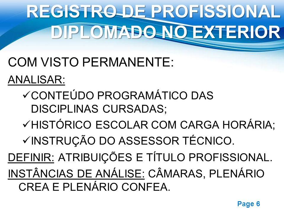 REGISTRO DE PROFISSIONAL DIPLOMADO NO EXTERIOR