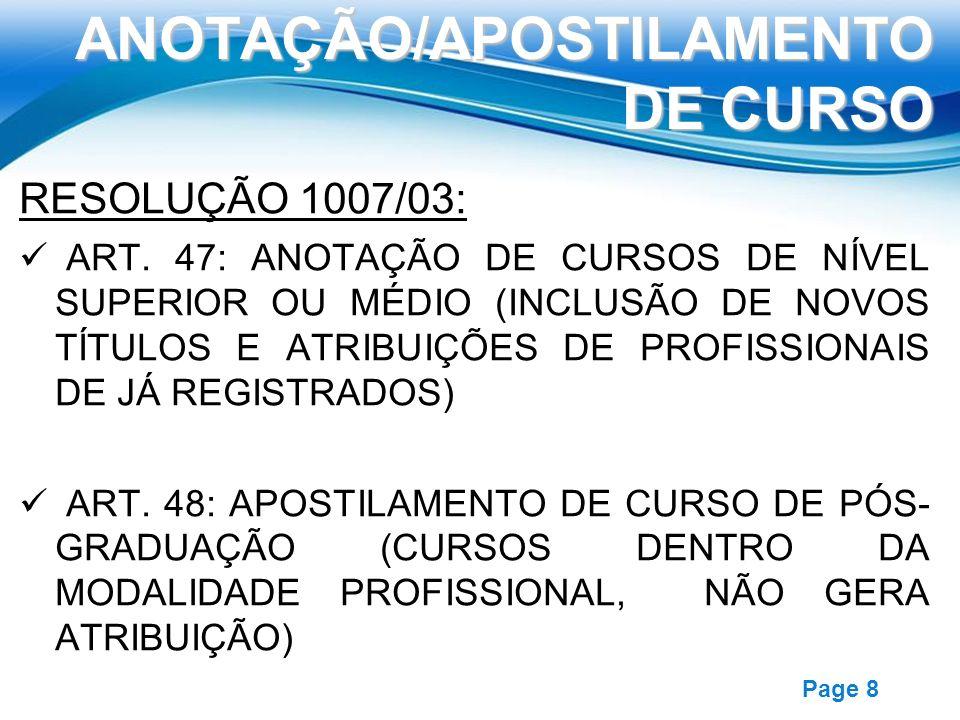 ANOTAÇÃO/APOSTILAMENTO DE CURSO