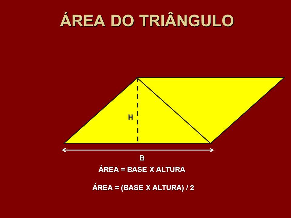 ÁREA DO TRIÂNGULO H B ÁREA = BASE X ALTURA ÁREA = (BASE X ALTURA) / 2