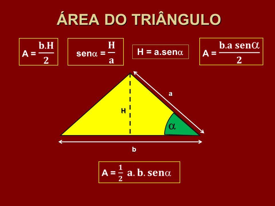 ÁREA DO TRIÂNGULO H = a.sen a H  b