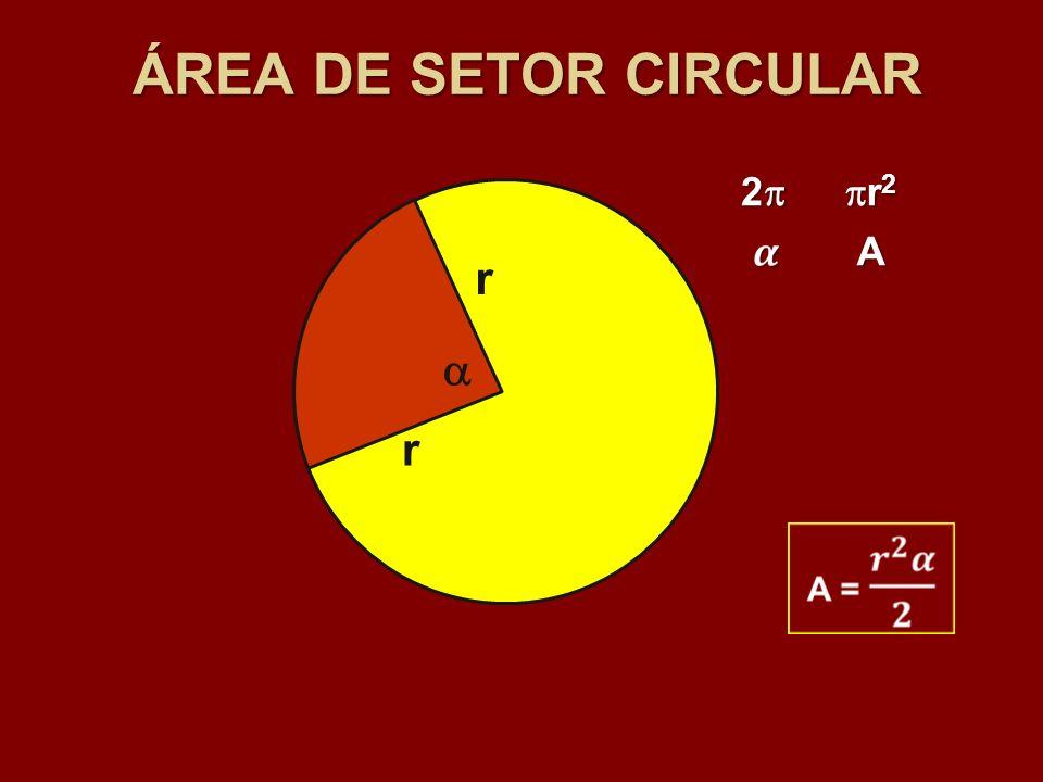 ÁREA DE SETOR CIRCULAR 2 r2 A r  r