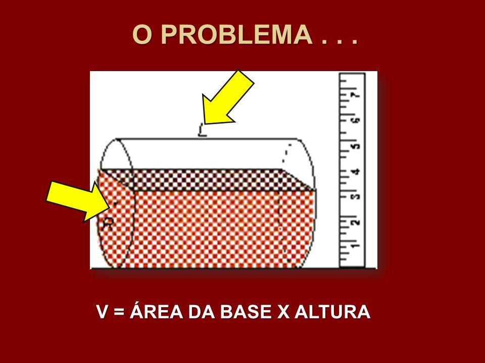 O PROBLEMA . . . V = ÁREA DA BASE X ALTURA