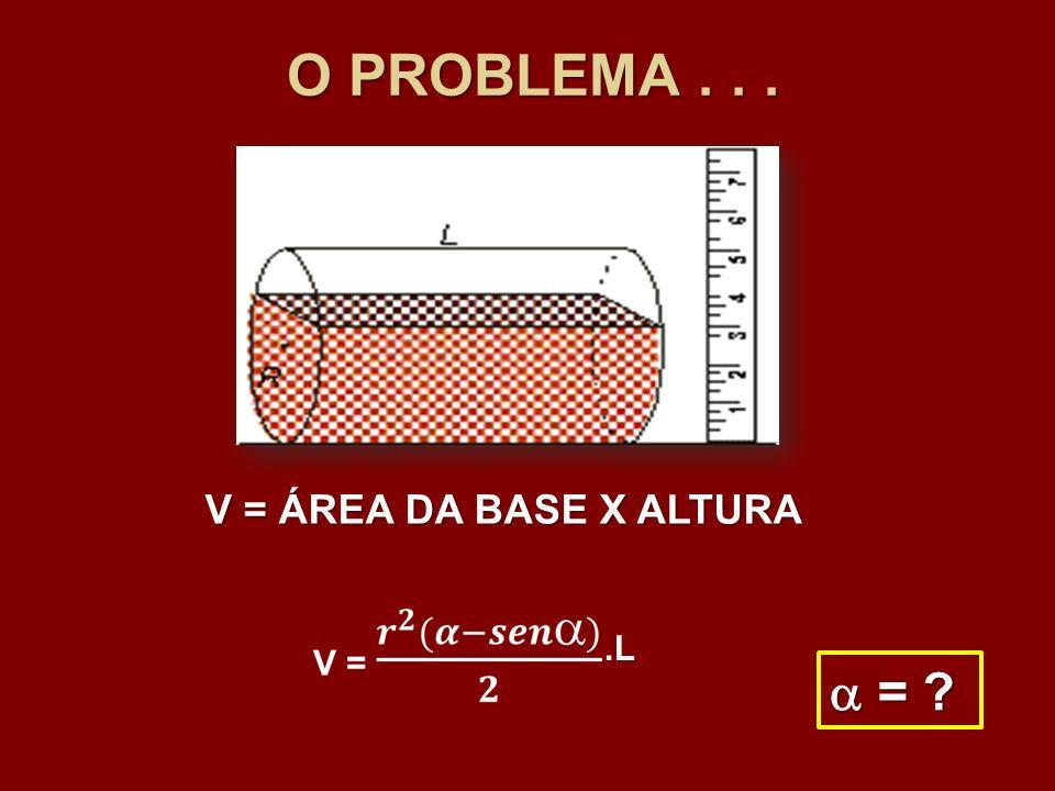 O PROBLEMA . . . V = ÁREA DA BASE X ALTURA .L  =