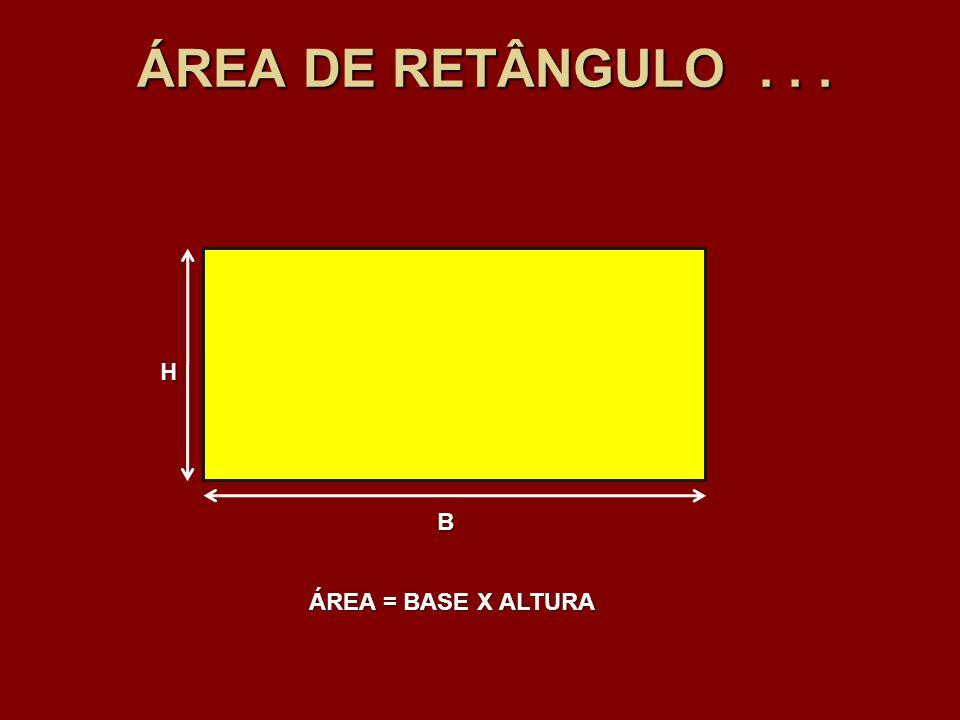 ÁREA DE RETÂNGULO . . . H B ÁREA = BASE X ALTURA