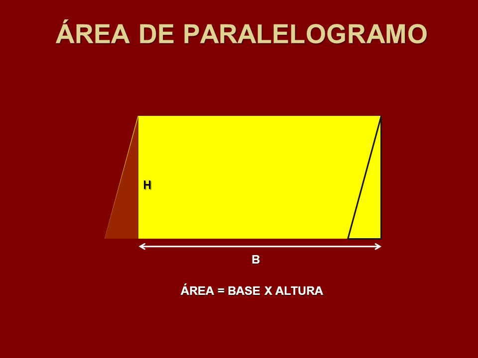 ÁREA DE PARALELOGRAMO H B ÁREA = BASE X ALTURA