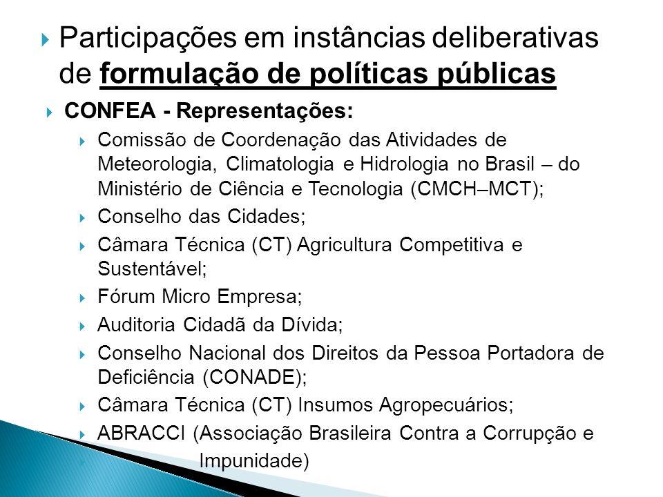 Participações em instâncias deliberativas de formulação de políticas públicas