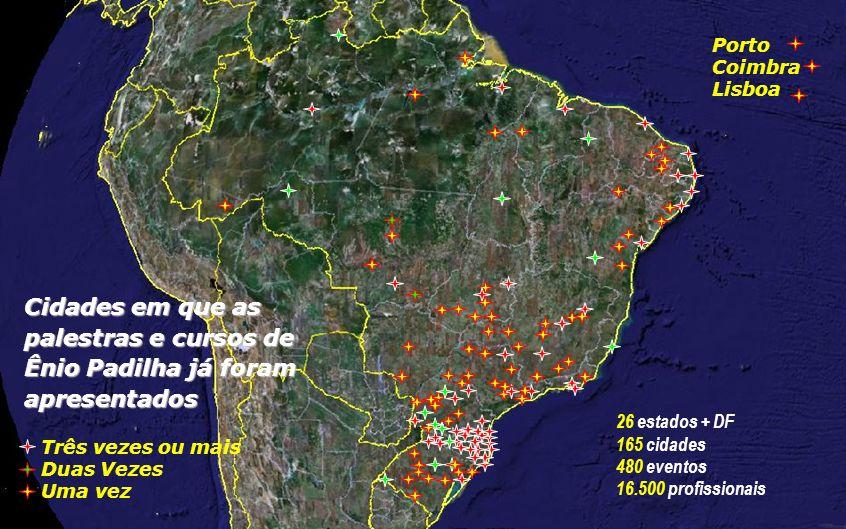 Porto Coimbra. Lisboa. Cidades em que as palestras e cursos de Ênio Padilha já foram apresentados.