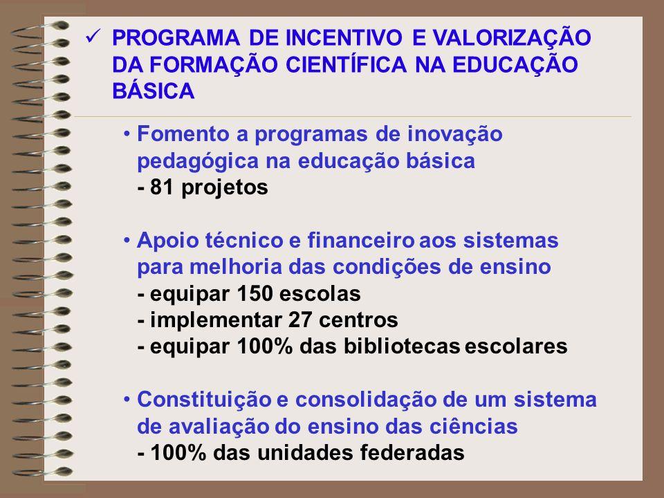 PROGRAMA DE INCENTIVO E VALORIZAÇÃO DA FORMAÇÃO CIENTÍFICA NA EDUCAÇÃO BÁSICA
