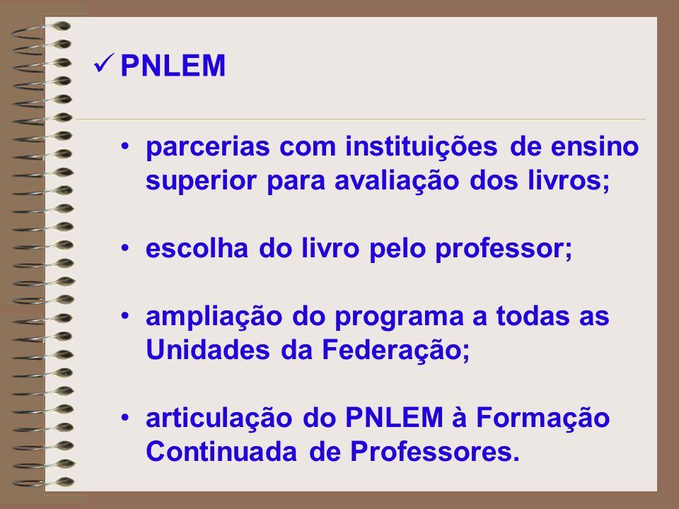 PNLEM parcerias com instituições de ensino superior para avaliação dos livros; escolha do livro pelo professor;