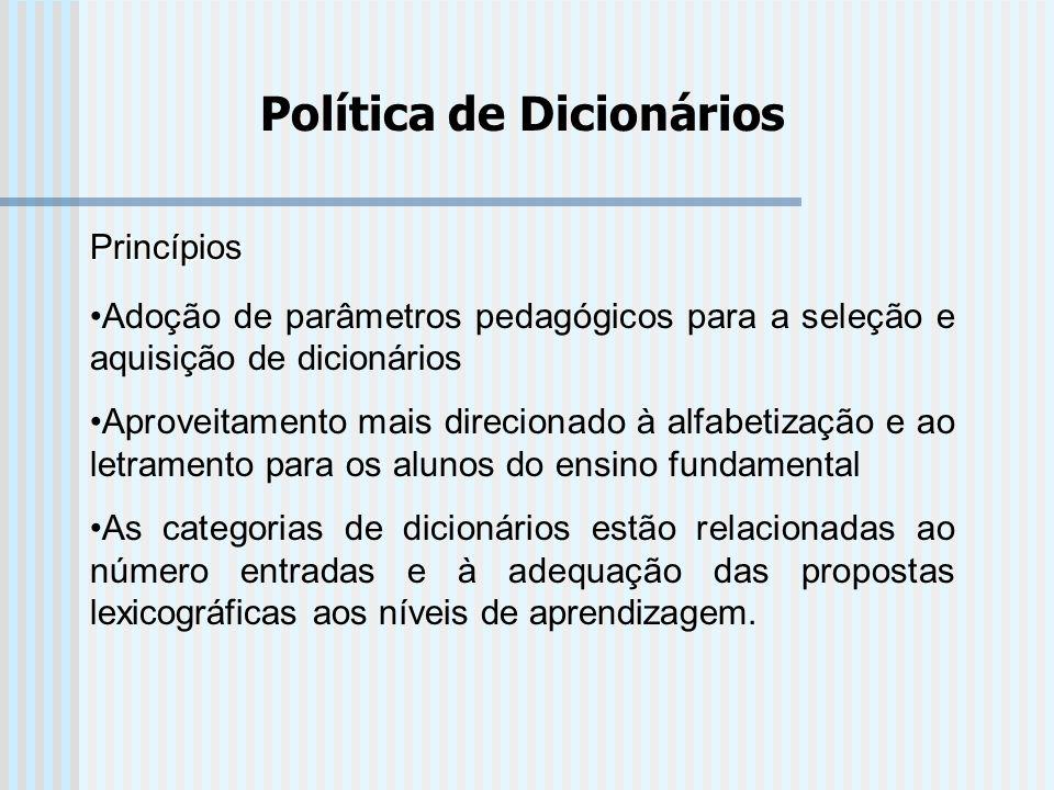 Política de Dicionários