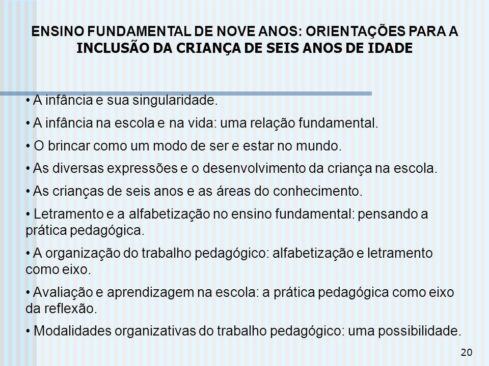 ENSINO FUNDAMENTAL DE NOVE ANOS: ORIENTAÇÕES PARA A INCLUSÃO DA CRIANÇA DE SEIS ANOS DE IDADE